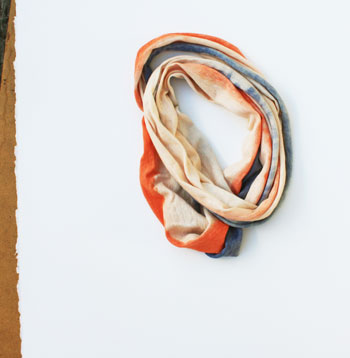 orange and blue scarf