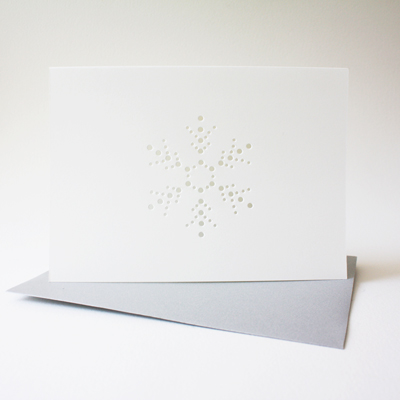 snowflake card with silver envelope ... set of 3 blank cards