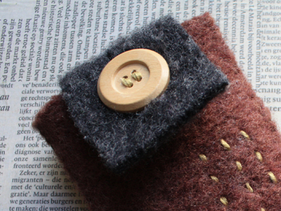 felted iphone cozy detail
