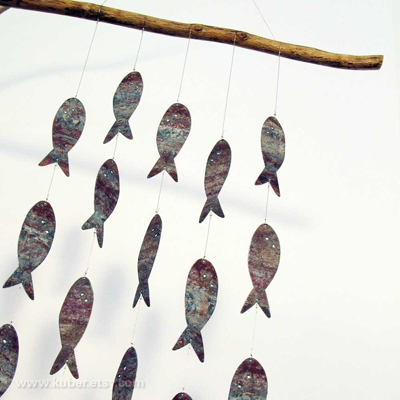 etsy : kuber : tin fishie beastie wall hanging
