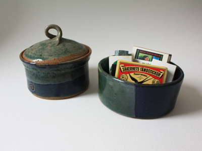 container and bowl, green and blue glaze