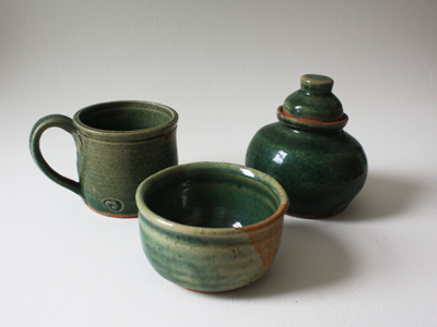 coffee cup, container, bowl... green glaze