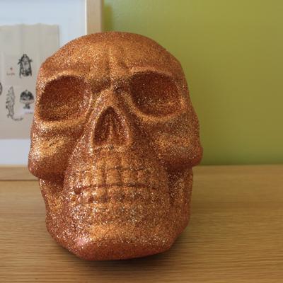 orange glitter skull!