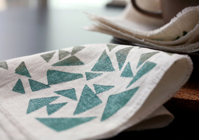 etsy : willow ship : linen cocktail napkins - triangles in khaki/teal on ivory linen (set of 4)