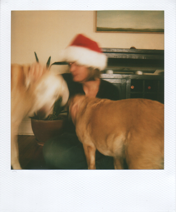 me & santa hat with guster-buster and hannah-butt